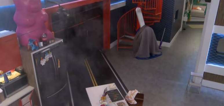 Smoke rises in the Big Brother 20 kitchen as Brett's bacon burns