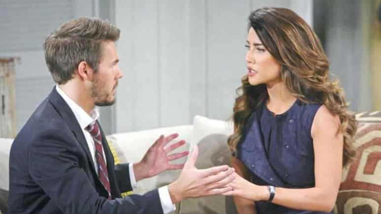 Liam and Steffy talking on a sofa