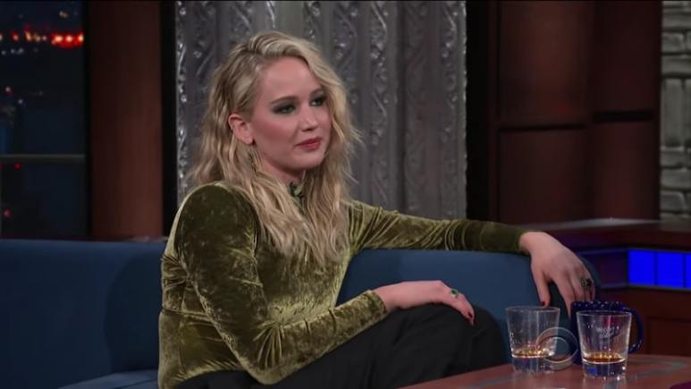 Jennifer Lawrence during an appearance on The Late Show with Stephen Colbert