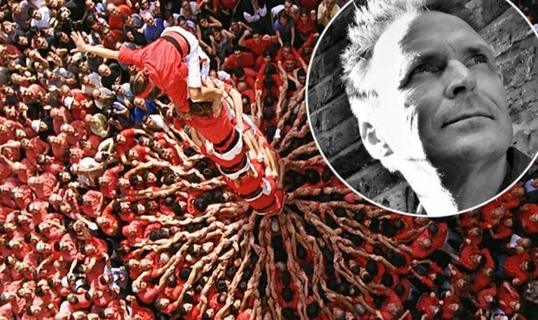 Phil Keoghan and the human towers of Catalunya