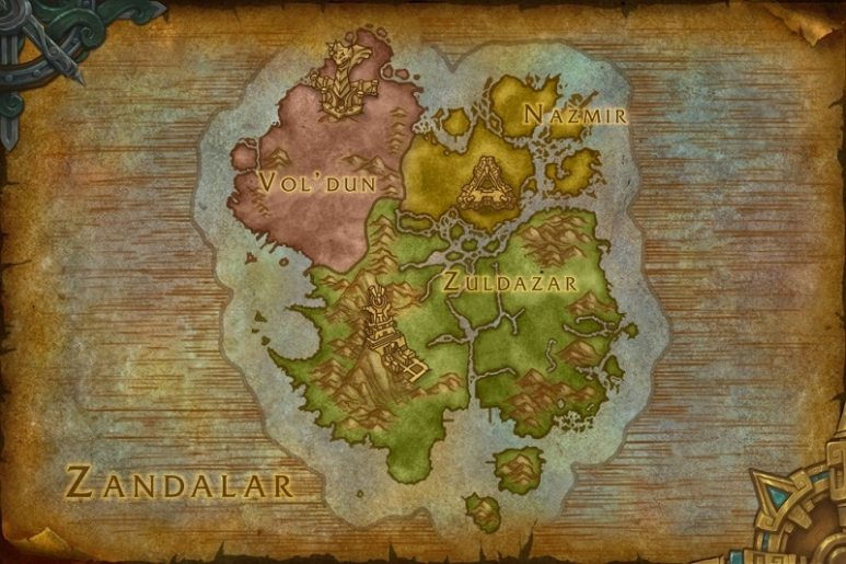 Map of Zandalar, home of the Zandalari empire.