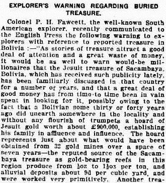 Newspaper reports with a quote about the treasure from Percy Harrison Fawcett