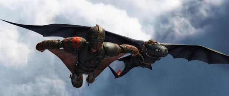 How to Train Your Dragon, Hiccup flies with Night Fury dragon Toothless