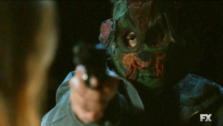 Still image from Mayans M.C. Escorpión/Dzec. Emily and her son is held at gunpoint by Adelita's rebels. Pic credit: FX