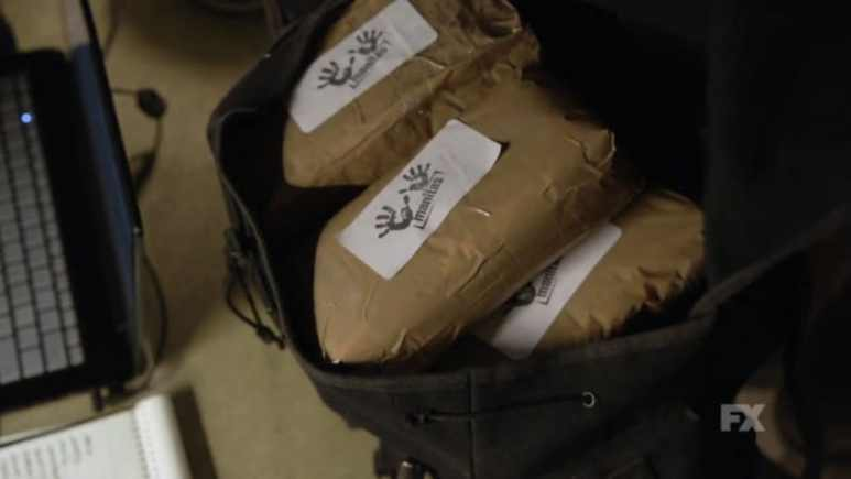 Still image from Mayans M.C. Escorpión/Dzec preview. Gilly's backpack containing the stolen drugs.