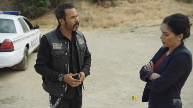 Still Image from Mayans M.C. Murciélago/Zotz. President Bishop and Mayor Antonia Pena (Alezandra Berreto) discuss the oxy presents a problem as they both have business arrangements with Galindo. Pic credit: FX