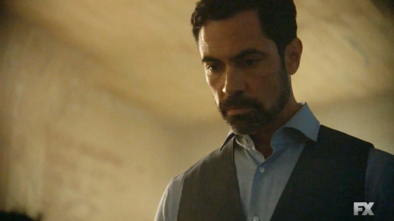 Still image:Mayans M.C. Búho/Muwan. Miguel Galindo inducts young Barra into his ring of spies. Pic credit: FX