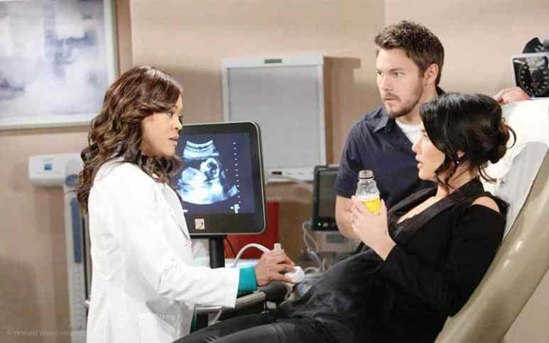 Robing Givens as Dr. Phillips with Liam and Steffy on The Bold and the Beautiful