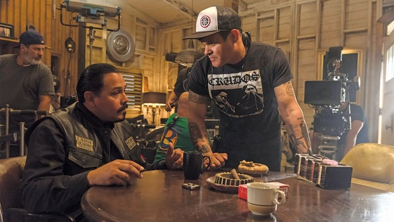 Rivera and James confer on a scene in Mayans MC Pic credit - Prashant Gupta/FX