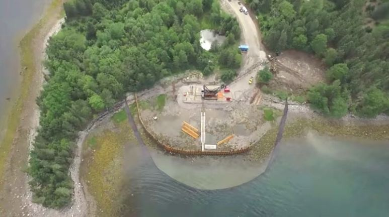 Smith's Cove coffer dam from the air