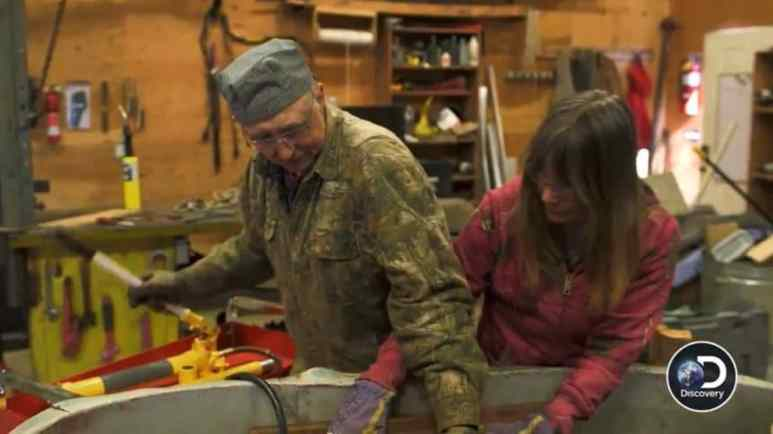 It starts out okay but goes south as Otto and Charlotte try to fix the metal on the tub. Pic credit: Discovery