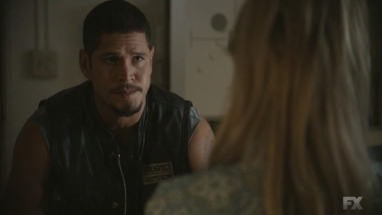 Still Image Mayans M.C. Uch/Opossum. EZ Reyes is concerned about Emily's health and struggles with the knowledge of her son's whereabouts. Pic Credit: FX