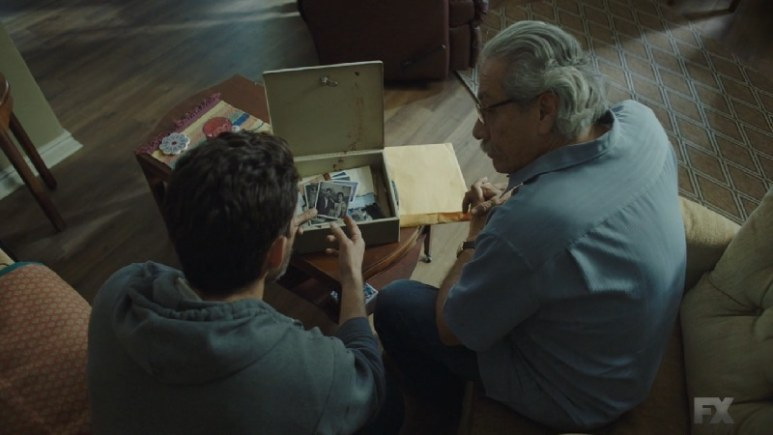 Still image from Mayans M.C. Gato/Mis. Kevin explains to Felipe the US Attorney is pushing him for leverage against Galindo. Felipe shares his past with Kevin. Pic credit: FX