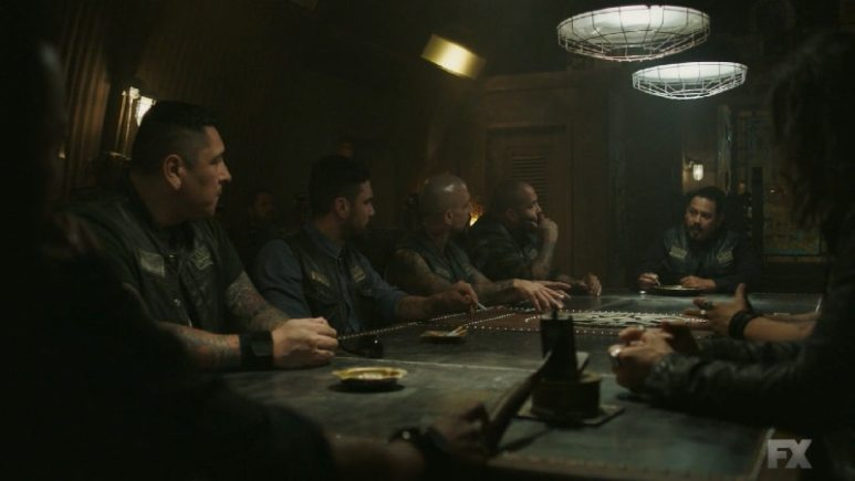Still Image: Mayans M.C. Rata/Ch'o. Alvarez brings the Santo Padre Charter up to speed on Galindo and the M.C. arranges a sit down in the San Buho Casino. Pic Credit: FX