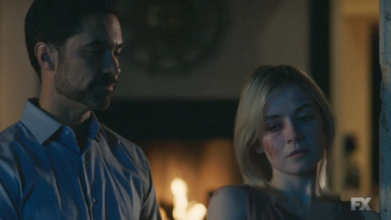 Still Image Mayans M.C. Uch/Opossum. Miguel and Emily argue over who is to blame for their son's abduction. Pic Credit: FX