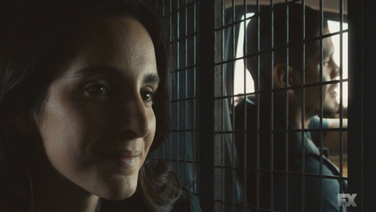 Still Image from Mayans M.C. Cucaracha/K'uruch. Angel sneaks Adelita through the tunnels and EZ drives her to a drop off point. Pic Credit: FX.