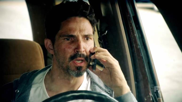 Still image from Mayans M.C. Cucaracha/K'uruch preview. Kevin issues a warning to an unknown individual about the Mayans M.C. Pic Credit: FX