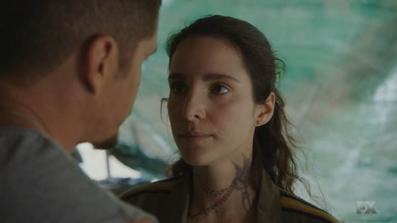 Still Image Mayans M.C. Uch/Opossum. EZ and Coco persuade Adelita to use heroin as payment for Angel's release. Pic Credit: FX