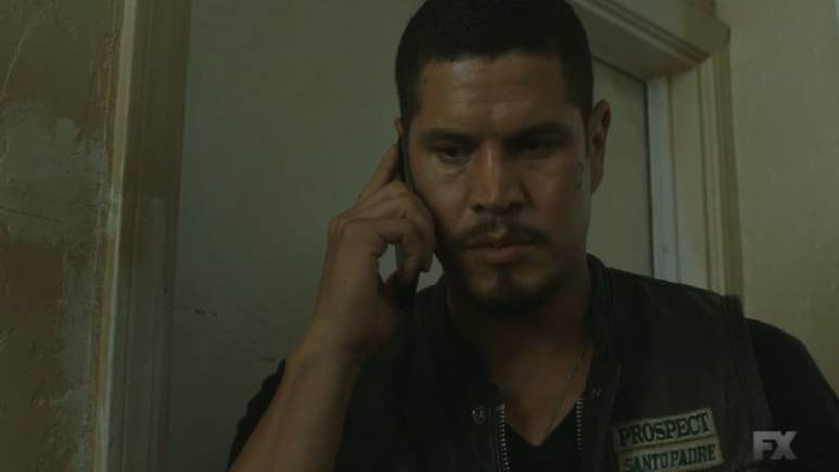 Still Image: Mayans M.C. Rata/Ch'o. EZ hides Celia's body from Letty before receiving a call from Felipe urging him to come home. Pic Credit: FX