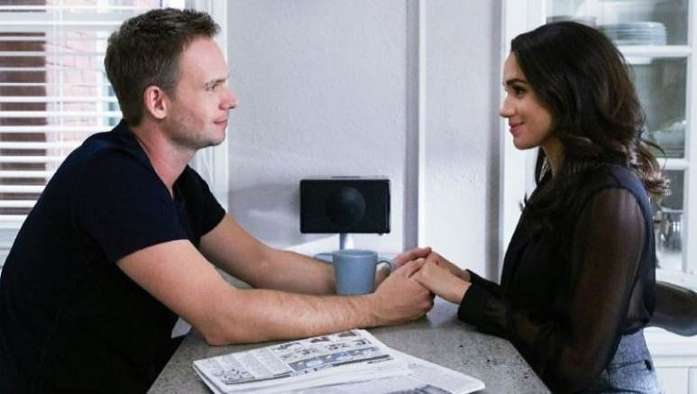 Meghan Markle and Patrick J. Adams as Rachel Zane and Mike Ross