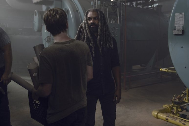 Khary Payton as Ezekiel, Matt Lintz as Henry - The Walking Dead _ Season 9, Episode 6 - Photo Credit: Gene Page/AMC