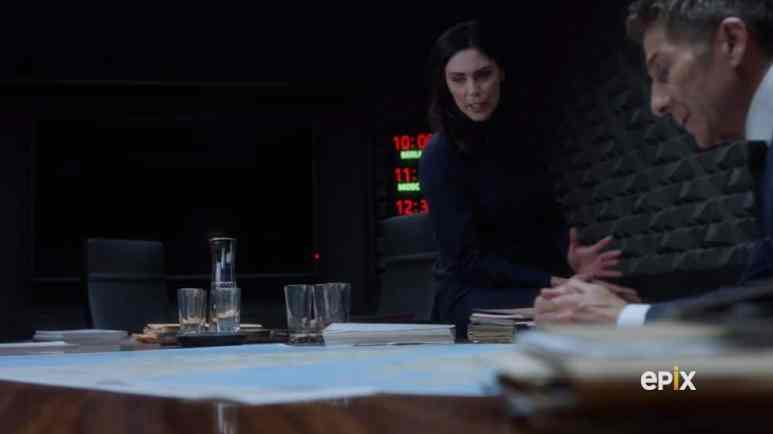 April, Kirsch and Valerie meet and discuss Estonia and missing Daniel. Pic credit: Epix
