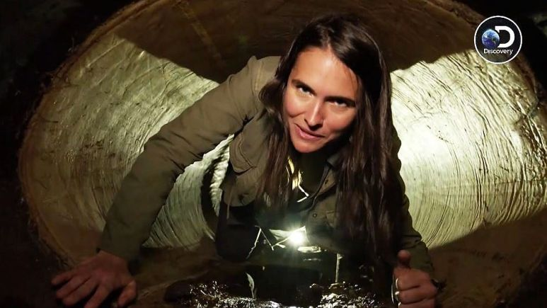 Lilia Luciano learns that rats and scorpions are inside the claustrophobic tunnel too. Pic credit: Discovery