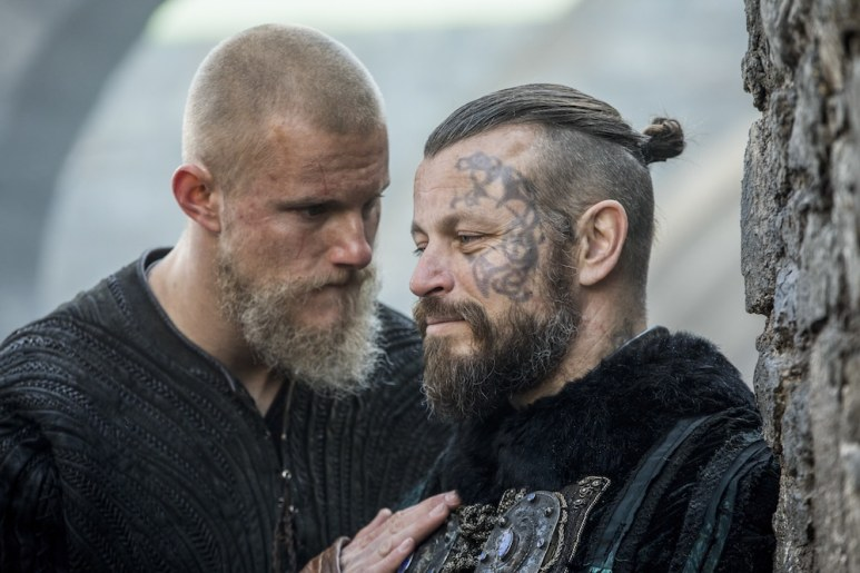 Bjorn Ironside (Alexander Ludwig) and King Harald Finehair (Peter Franzen) discuss attacking Kattegat. Photo by Jonathan Hession Copyright 2019