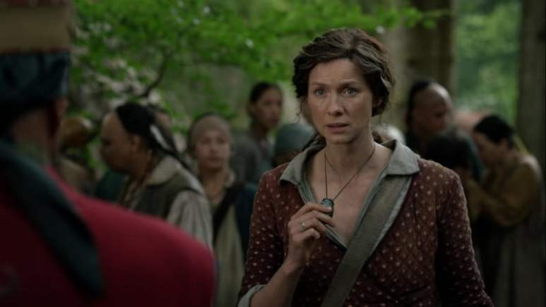 Claire offers her Otter's Tooth stone in exchange for Roger
