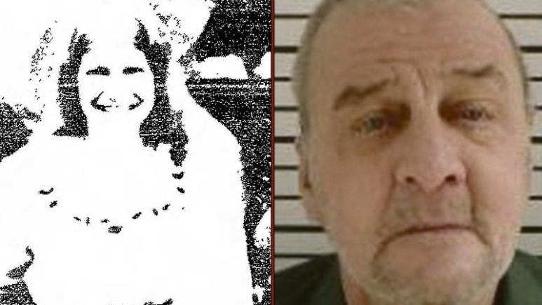 Linda Velzy smiling in a family photo and Ricky Knapp in a prison photo taken near the end of his life.