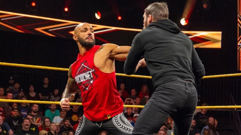 Ricochet and Johnny Gargano in the WWE ring
