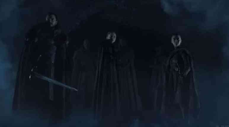Crypts of Winterfell with Stark kids during Game of Thrones teaser trailer