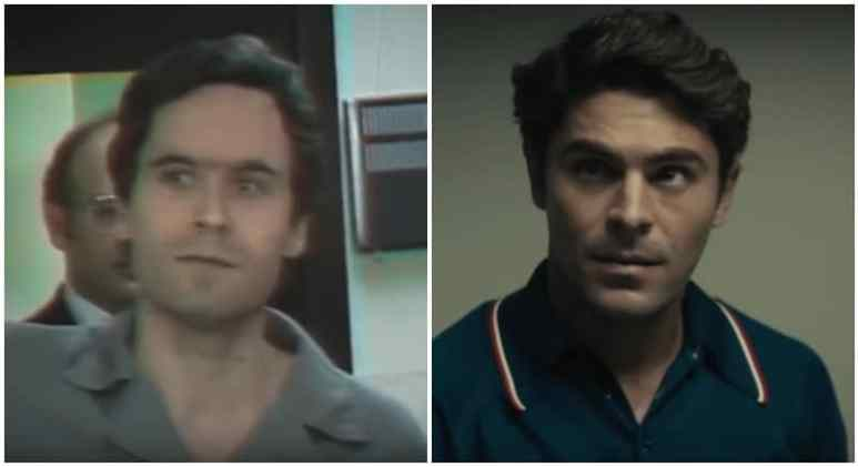 Ted Bundy in a video still and Zac Efron as Ted Bundy in the movie Extremely Wicked, Shockingly Evil and Vile