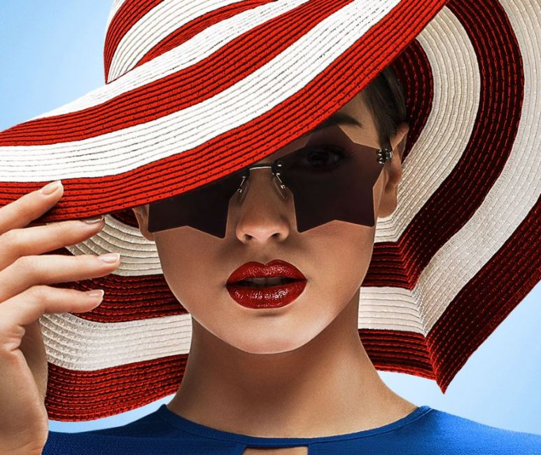 A model wearing red white and blue to depict the impact the U.S. has on style worldwide