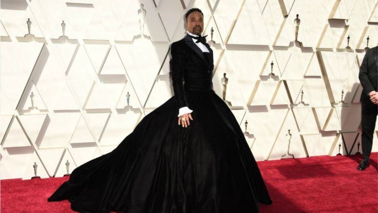 Billy Porter wearing a tuxedo dress to the 2019 Academy Awards