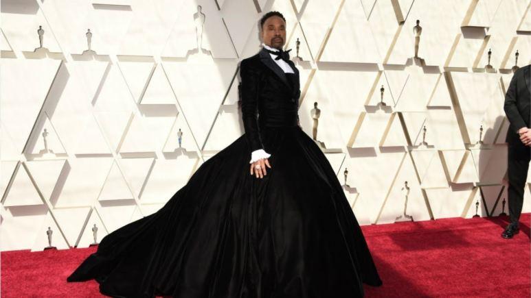 Billy Porter wearing a tuxedo dress to the 2019 Academy Awards