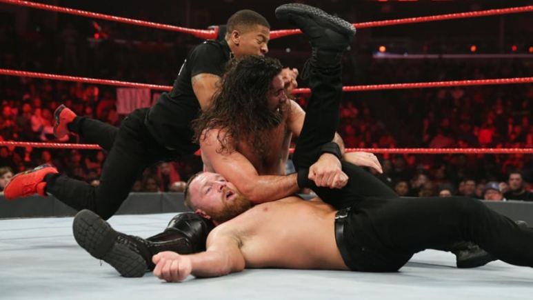 Seth Rollins pinning Dean Amrbose in the WWE