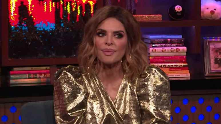 Lisa Rinna talking to Andy Cohen