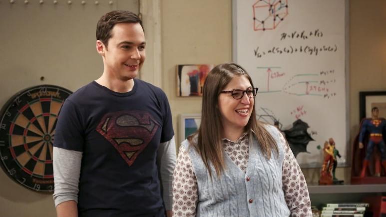 Mayim Bialik as Amy Farrah Fowler and Jim Parsons as Sheldon