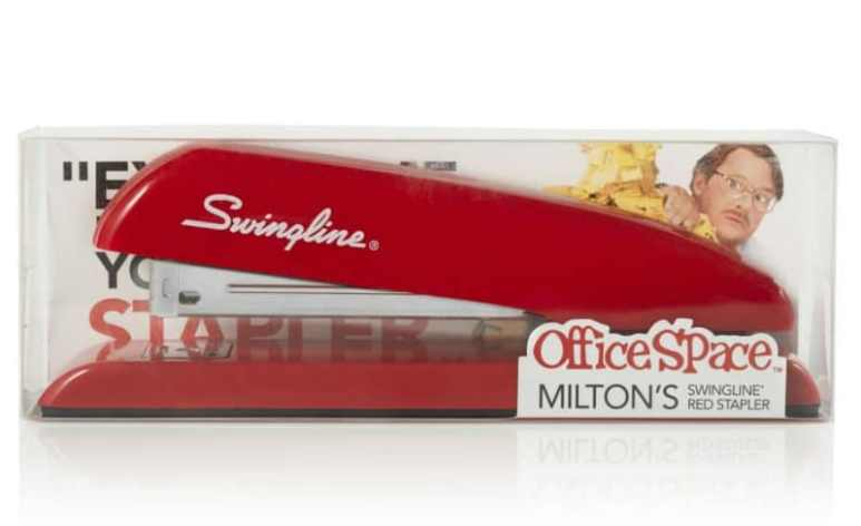 Red Swingline stapler just like the one Milton used in Office Space
