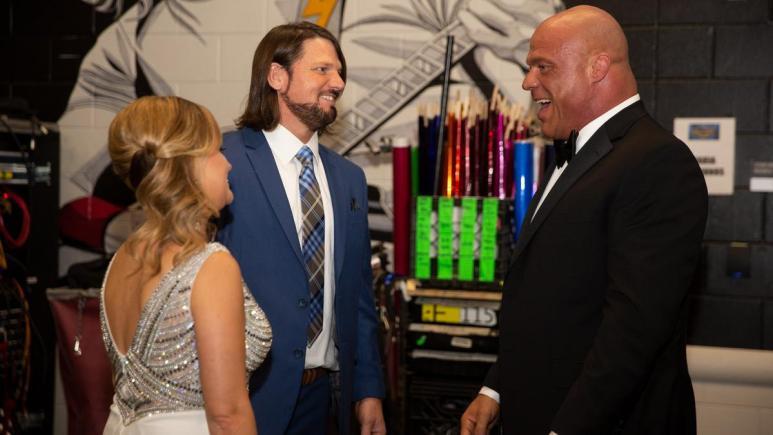 AJ Styles backstage with Kurt Angle