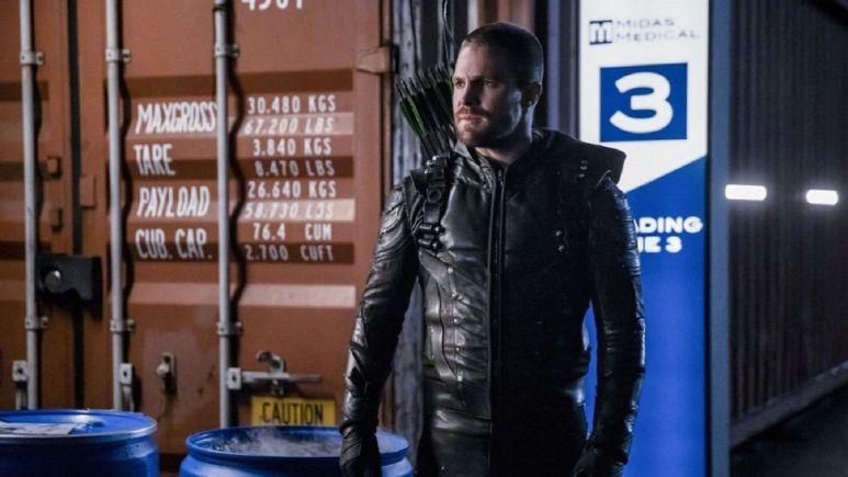 Stephen Amell as Oliver Queen on Arrow.