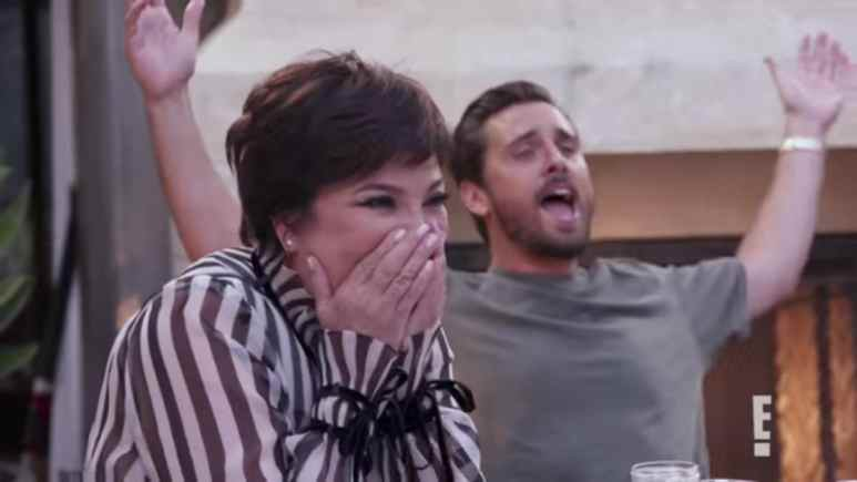 Kris Jenner and Scott Disick cheer at the news of Kim and Kanye's fourth baby