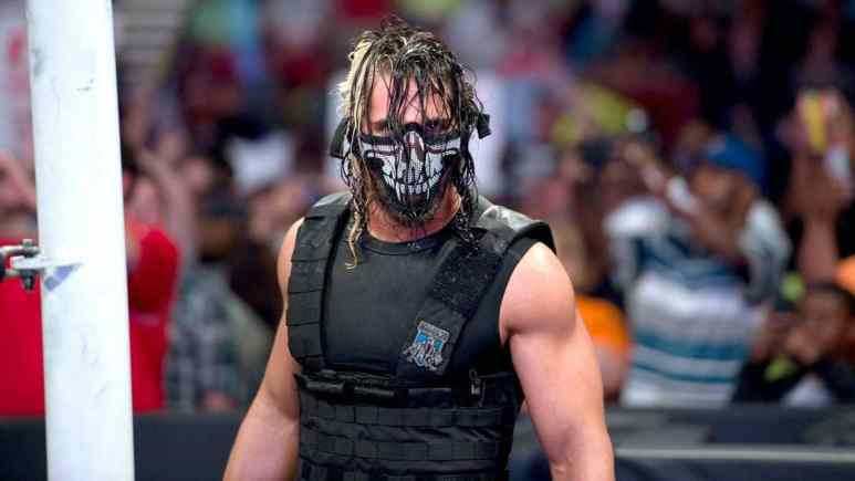 Seth Rollins wearing a mask and swat gear