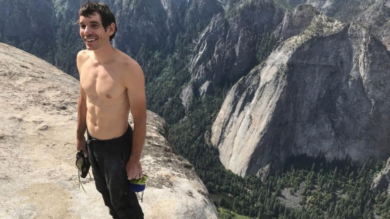 Alex Honnold right after the epic climb. Picture credit Jimmy Chin/National Geographic Channel