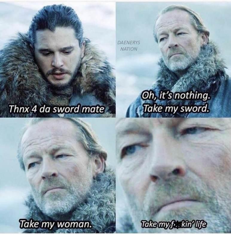 Meme regarding Jon Snow and Jorah Mormont