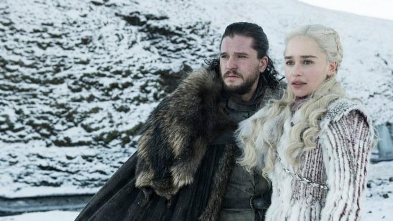 Kit Harington as Jon Snow and Emilia Clarke as Daenerys Targaryen, as seen in Episode 1 of HBos' 'Game of Thrones' Season 8