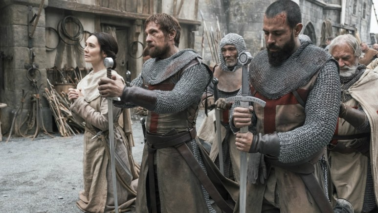 History Channel's 'Knightfall' Season 2, Episode 6, Blood Drenched Stone, Clair Cooper as Sister Anne, Simon Merrells as Tancrede, and Tom Cullen as Landry