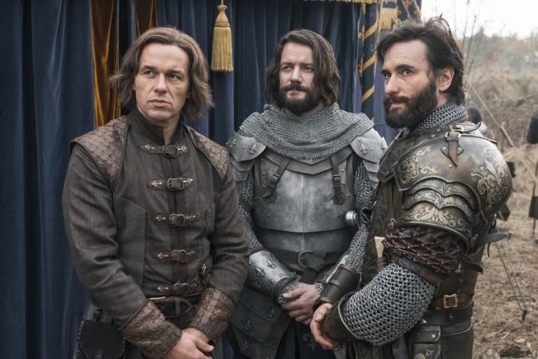 History Channel's 'Knightfall,' Season 2, Julian Ovenden as William DeNogaret, Pádraic Delaney as Gawain, and Ed Stoppard as King Philip