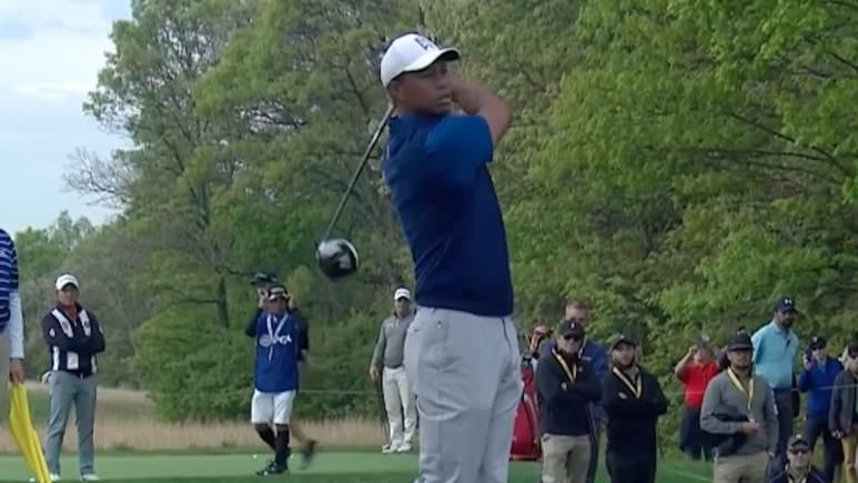 tiger woods watches his shot at PGA Championship 2019